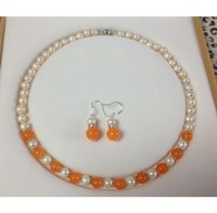 Wholesale 7 MM Natural White Akoya Cultured Pearl Orange Jade necklace earrings set