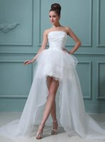 Wholesale Sexy Short Wedding Dresses Spring Hi Lo Chiffon Strapless Backless Tulle Designer Modest Corset Tulle Vintage Wedding Gown C4