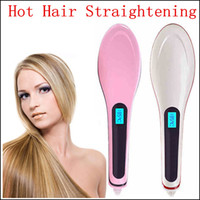 Wholesale 2015 New Professional Straightening Irons Come With LCD Display Electric Straight Hair Comb Straightener Iron Brush