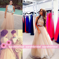 2014 prom dresses - 2014 Two Piece Long Prom Dresses For Homecoming Teens Sale Cheap Sheer Crystal High Neck Backless Crop Top Champagne Evening Party Gown