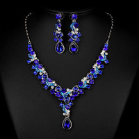 Wholesale Royal Blue Wedding Jewelry Sets Shining Rhinestone Necklace Earring Set Bridal Accessories In Stock