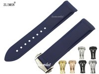 Wholesale mm NEW HQ Men s Blue Diver Curved end Rubber watch band strap For Planet Ocean