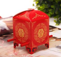 shower chair - 100 Wedding Red Bridal Sedan Chair Favor Holders Paper Novelty Candy Box Sweet Boxes Unique Design Shower Flowers Gifts Holder