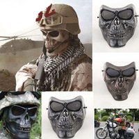 airsoft face shield - 5pcs Funny Paintball Scary Airsoft Mask Skeleton Skull Masks Protective Games Battlefield Shield Halloween Cosplay Carnival New Year
