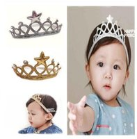 ribbons and bows - Crown baby headband Gold and Silver elastic baby hair accessories Children Birthday Accessories Tiara Crown Headband Korean