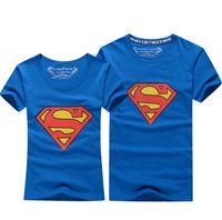 Wholesale Superman T Shirt Lovers clothes Women s Men s casual O neck short sleeve t shirts for couples superman short sleeve T shirt