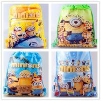 animal cell kids - Minions Backpack Drawstring Handbags Minions Despicable Me Kiddy Non Woven Fabrics String Cartoon Backpack School Swimming Bag Kids Christma