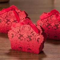 Wholesale dark red laser cut paper candy box party favor gift chocolate box boutidue mm