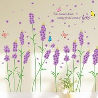 art section - Wall stickers home decoration Three generations of purple lavender bloom removable section removable living room TV sofa backdrop AM7002