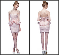 attire prom gowns - Cute Mini Pink Cocktail Dresses Strapless Sleveless Bandage Net Flower Young Prom Gowns Dating Small Formal Attire