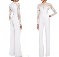 brides made - 2015 White Elie Saab Mother Of The Bride Pant Suits Jumpsuit With Long Sleeves Lace Embellished Women Formal Evening Wear Custom Made