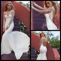 Cheap 2015 Sheer Stretch Tulle Long Sleeves Wedding Gowns Scoop Floor-length Mermaid Fully Lined with French Seams Wedding Dresses