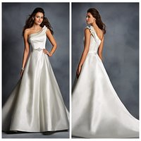 bias ribbon - 2016 Elegant One Shouldered Satin Wedding Gowns With Modern Double Bias Bridal Dresses Crystal Ribbon Formal Bride s Vestidos De Novia