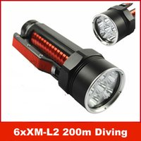 Wholesale 200m Underwater Diving x CREE XM L2 T6 Lm LED Light Flashlight Torch Lamp