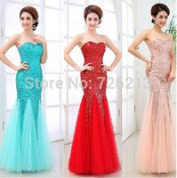 Wholesale 2015 Latest Designs Fashion Prom Long Chiffon with sequins tube top fish tail Evening dress Party dresses Dinner dress