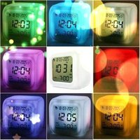 Wholesale 7 Colours Changing LED Digital LCD Alarm Clock Thermometer Calendar Time Night Light Clock