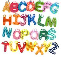 wooden toys for children - 26pcs Children s Toys Wooden Alphabet Fridge Magnets One Set euqal Puzzle toys for Kids