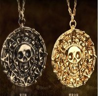 american gold medals - Pirates of the Caribbean Gold Coin Medal Necklace Aztec Gold Skull Pendant Necklaces Jewelry
