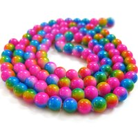 strands of glass beads - BSI Rainbow Inches Strand Of Artistic Painted Lamp work Glass Round Beads mm Jewelry Making