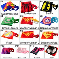 capes - 2pcs Set Superhero Cape Mask L70 W70CM Double Side batman superman cape mask Reversible Superhero Cape supergirl cape mask set
