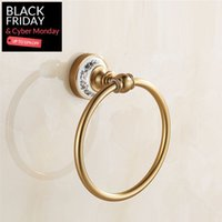 Wholesale Antique Aluminum Alloy Towel Ring Round Wall mounted Bathroom Towel Holder Towel Rack Accessories Fast Shipping Fast Shipping