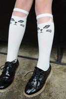 Primavera Niños Knee Highs calcetines de gato de dibujos animados Calcetines de las piernas de algodón de las niñas de la media niños Princesa Boots calcetines calcetines Blanco Negro 10892