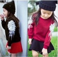 cotton velvet - 2014 New Arrival Children s Pullover Baby s Thickened Velvet Sweater with Embroidered Wing Sleeves Pure Cotton Coat