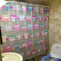 Wholesale 12 Hooks Thick PEVA Waterproof Shower Curtain Cute Cartoon Owls Home Bathroom Products Bath Fashion Supplies