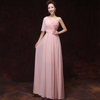 Cheap light pink chiffon adult bridesmaid long one shoulder party dresses 2015 pastel greek goddess dress free shipping B2219