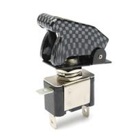 Wholesale 2015 New Arrival Carbon Fiber SPST Car Auto Cover Toggle Switch V A Blue LED TK0173 order lt no track
