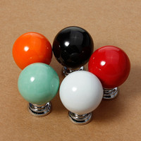 Wholesale 1Pcs Ceramic Door Knob European And American Modern Minimalist Pastoral Cabinet Drawer Handle With Screws