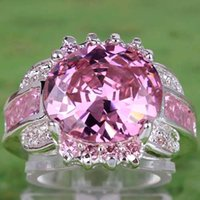 Wholesale 2015 Luxury AR8 mm Oval Cut Pink White Sapphire Gemstones K Platinum Plated Ring Size Christmas New Year Women Gift Cheap
