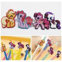Cheap Study Best Fashion gifts 4pcs My little Pony Cartoon PVC Papelaria pencil cap Accessories Pencils,Pen Case Topper School Office Supplies