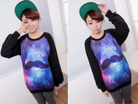 Cheap Fashion Women's Long Sleeve Galaxy Mustache Space Graphic Print Loose T-shirts Tops Oversized Tee Blouse