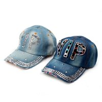 Wholesale 2014 Fashion Cotton Jean Rhinestone Baseball Caps Women Summer Sun shading Hat Denim Visor Caps