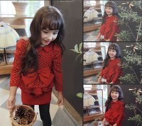 Wholesale 2014 Autumn Girls Lovely Bowknot Tulle Dresses Branded Clothing Kids Dots Pure Cotton Lapel Dress Girl Boutique Tutu Dressy Red Black A2092