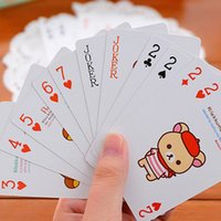 Wholesale NEW Portable Cartoon Bear Poker Entertainment Playing Cards CM Color Send At Random Fashion Gift Family Games