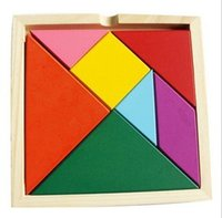Wholesale Wooden Tangram Piece Puzzle Square I Q Development Game Brain Teaser Intelligent Blocks Toy Good Gift for Kids