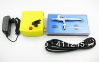 air compressor nozzles - Dual Action Airbrush Kit mm Nozzle Mini Air Compressor Set Tattoo Nail Art