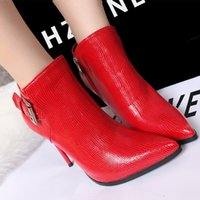 aa female - Fashion Fall Winter Women Boots High Heels Female Pointed Toe Women Pumps Sexy Women s Shoes Stiletto Boots Lizard Grain Ankle Boots