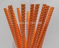 coral chevron drinking straws - Paper Straws Coral orange Chevron Drinking Straws Halloween Party Birthday Wedding Decoration supplies