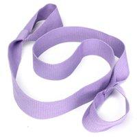 Wholesale Purple Elastic Yoga Pilates Mat Sling Strap Exercise Stretch Adjustable Belts Fitness Gym Sports Excerise women men