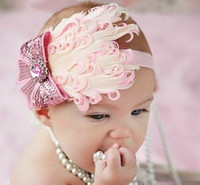Wholesale Cute Baby Girl Headband Large Feather Flower Girl Head Pieces Hot Sale Headband Rhinestones Kids Hair Wear Accessories Whoesales Prices
