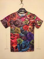 FG1509 First Summer Femmes Hommes Harajuku T-shirt 3D Print Roses Floral T-shirt Rue Causal Punk Tops Tees Violet Wholesale Retail XXL