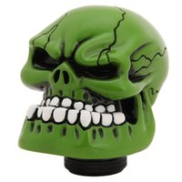 Wholesale Universal Manual Gear stick Shift Shifter Lever Knob Wicked Carved Green Skull Car interior Accessories EJ875541