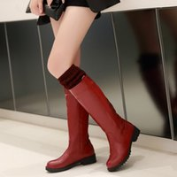 Cheap Drop Shipping The Knee High Boots For Women Fashion Casual Low High Heels Round Toe Long Winter Dress Shoes
