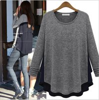 Wholesale Europe and America women s pullover long sleeve round collar splicing knit chiffon bottoming shirt