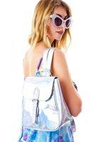 Cheap Wholesale-2015 Backpacks Exo Hologram European Women's Trend Rare Rainbow Laser Reflective Mirror Portable Backpack School Bags For