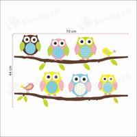 baby girl wallpaper - Owls On Tree Wall Stickers Colorful For Nursery Baby Kids Girls Room Wall Wallpaper Decorative PVC Decals Free DHL Factory Direct