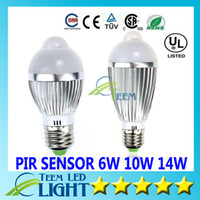 Globe Power LED 14w LED light E27 6W 10W 14W 85V-265V Motion Control PIR Sensor Led lighting led ball Lamp Globe Bulb Silver Waterproof spotlight downlight